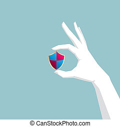 One hand holding a shield, antivirus software, hand is white,