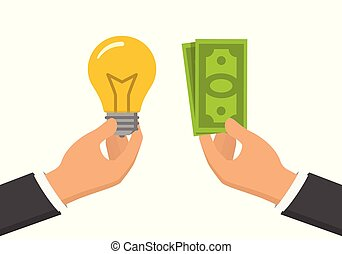 One hand holding light bulb and another one holding cash. Flat design illustration, idea for money concept