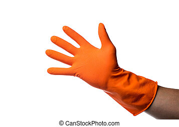 One hand in rubber glove isolated on white background