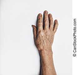 One hand of an elderly woman