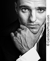 One handsome elegant masculine young man - Portrait of one ...