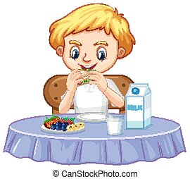 One happy boy eating breakfast