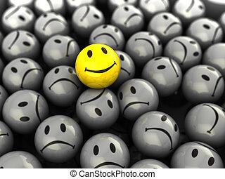 one happy face - 3d illustration of one happy face symbol on...