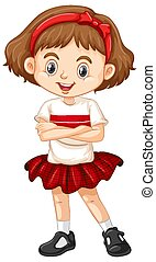 One happy girl in red skirt
