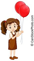 One happy girl with red balloons