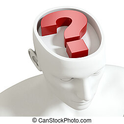 one head of a manikin with a question mark inside it, concept of questions and doubts (3d render)