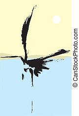 One Heron - Heron rendered with simple japanese influenced...