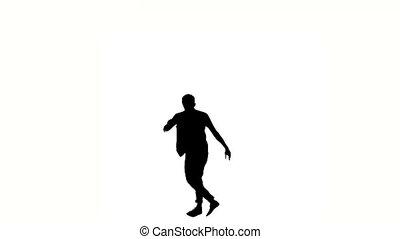 One hip hop acrobatic break-dancer stylish man dancing, on white, silhouette