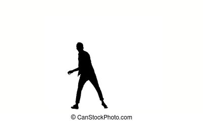 One hip hop acrobatic break-dancer stylish man dancing, on white, silhouette, slow motion
