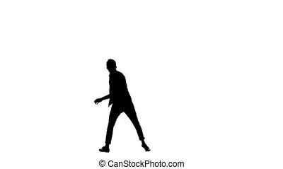 One hip hop acrobatic break-dancer stylish man dancing, on white, silhouette, slow motion