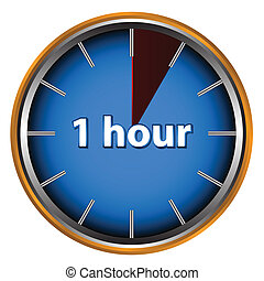 One hour - Unique icon of hours with time on it