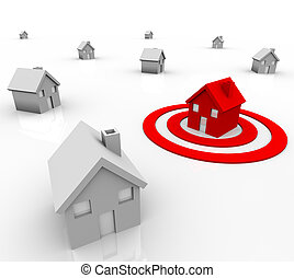 One red house stands out in a neighborhood of white homes, sitting in a red target bullseye, symbolizing demographics and population in target marketing