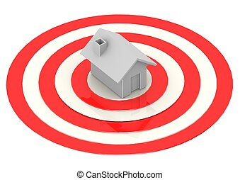 One House in Bulls-Eye Target - Rendered artwork with white...