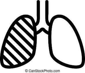 one human lung infected with tuberculosis icon vector outline illustration