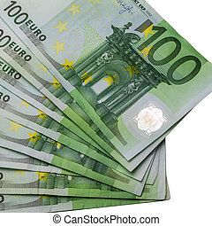 One hundered euro bills from above on white