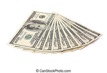 One hundred dollar banknotes isolated on white background