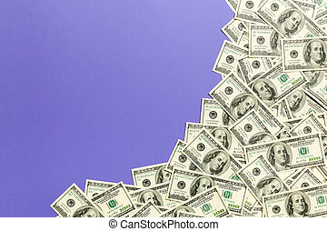 One hundred dollar banknotes on colored background top view, with empty place for your text business money concept. One hundred dollar background.