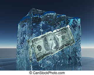 One hundred dollar bill frozen in i