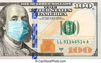 One Hundred Dollar Bill With Medical Face Mask on Benjamin Franklin.
