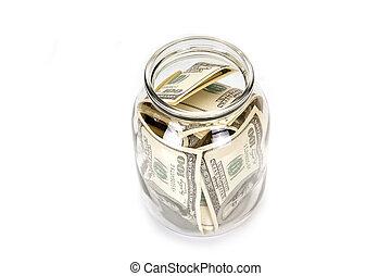 One hundred dollar bills in a glass jar
