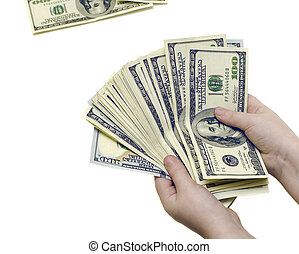 One hundred dollar bills in hands on a white isolated background