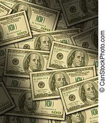 One hundred dollar bills lying flat, dramatically lit....