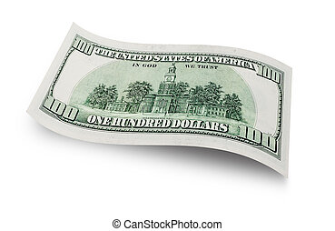 one hundred dollar - Back of one hundred dollar banknote...