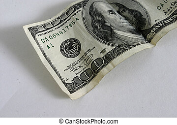 View of a american one hundred dollar bill.