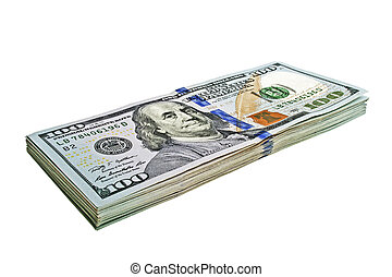 One hundred dollars banknotes isolated on a white background
