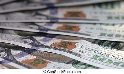 One hundred dollars banknotes macro.