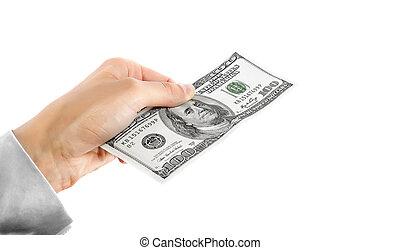 One hundred dollars dollars in hand