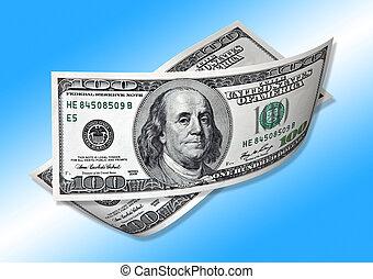 one hundred dollars on blue background