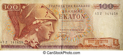 An old 100 Greek drachma note from just prior to the switch to the single european currency. Greece's weak economy is now causing problems for the euro zone.