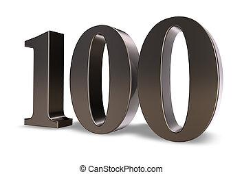 one hundred - metal number one hundred on white background -...