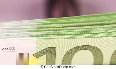 Euro Banknotes in the Counting Machine - One hundred Euro...