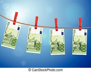one hundred euro banknotes on clothesline