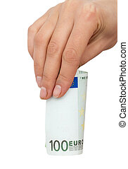 one hundred euro in hand on a white background