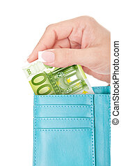 one hundred euro in woman's hand taken out from wallet