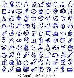 food icons - one hundred hand drawn food icons