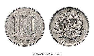 One hundred japanese yen coin faces