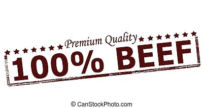 Rubber stamp with text one hundred percent beef inside, vector illustration