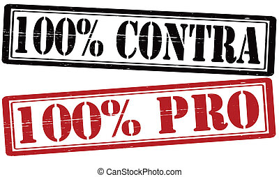 Stamp with text one hundred percent pro and contra inside, vector illustration