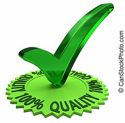 One Hundred Percent Quality - Circular shaped 3D text...