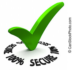 One Hundred Percent Secure - Circular shaped 3D text arround...