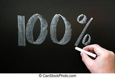 One hundred percent written on a blackboard