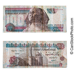 One hundred pounds. Egyptian money over white with clipping...
