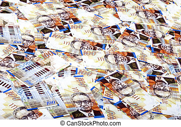 One Hundred Shekels Bills Messy Background - A high angle ...
