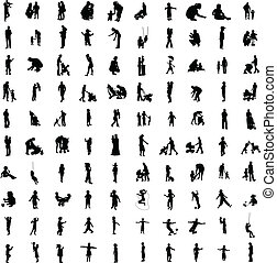 One hundred silhouettes of parent - One hundred isolated...