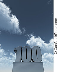 one hundred - metal one hundred - 100 - in front of cloudy...