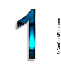 one, illustration of  number with blue chrome effects on white background